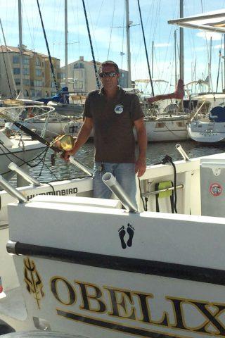 david cochet sur le bateau Obélix